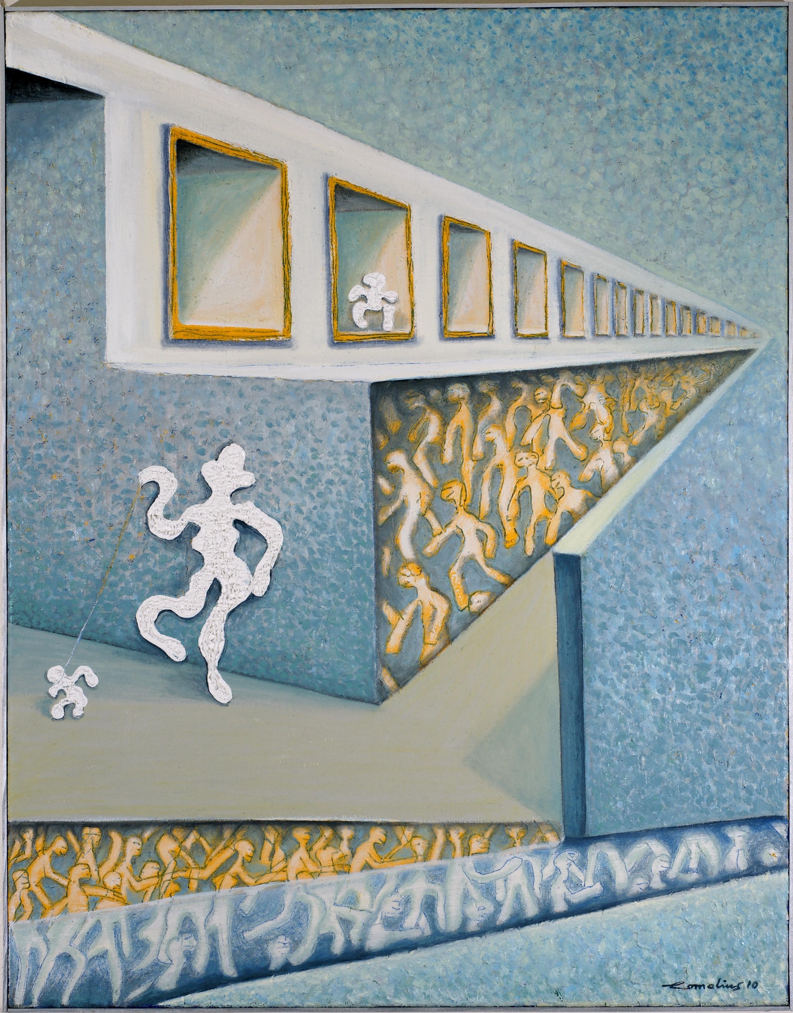 Gassigehen-2010, 116 x 91 cm, Öl auf Jute