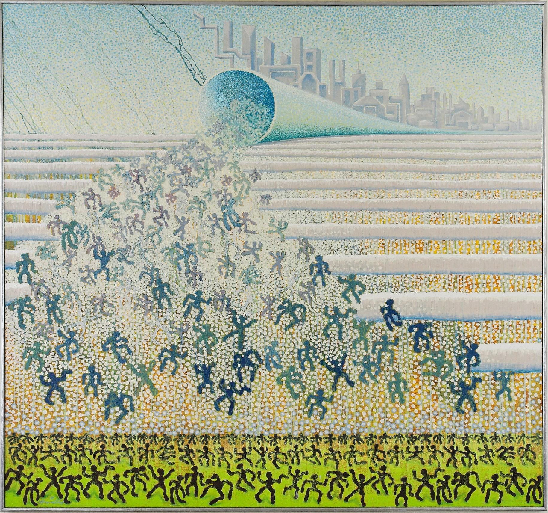 Ghostparade 2010  186 x 201 cm  Öl auf Jute